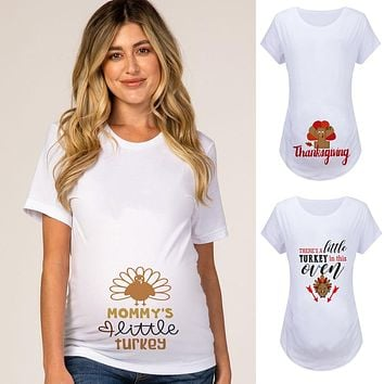 2020 Thanksgiving Announcement Maternity T-Shirt Mommy's Little Turkey T Shirts Pregnancy Tees Graphic Mom Short Sleeve Clothes