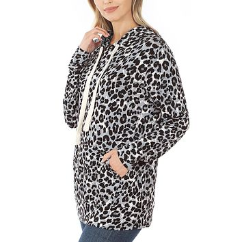 Leopard Pullover Hoodie Sweatshirt with Kangaroo Pocket