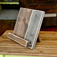 Distressed Wood iPad or Cookbook Stand for the Kitchen or Office - TWO SIZES AVAILABLE - Tablet or eReader Stand