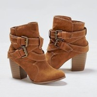 Cross Over Stacked Heel Booties