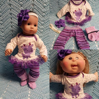 """Baby Doll Clothes to fit 15 inch doll """"Purple Reindeer"""" Will fit Bitty Baby®  doll outfit dress leggings socks handmade j4a"""