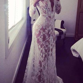 Casual White Lace Dress Vintage Night Robe Gown
