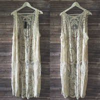 Lace Long Line Vest (Beige)