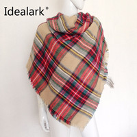 Za Winter Scarf Women Plaid Cashmere Scarf Wrap Luxury Brand Women Scarf Warm Triangular Pashmina Shawls and Scarves Long Shawl