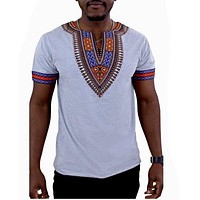 GRAY AFRICAN DASHIKI MEN'S SHIRT
