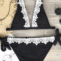 Cupshe Black Swan Lace Bikini Sets