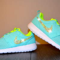 Blinged Out Women's Nike Roshe Run Running Jogging Shoes Customized With Clear Swarovski Crystal Rhinestone Elements Mint Blue & Lime Green