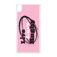 Sporty - Live Love Rugby 20147 White Hard Plastic Case for Sony Xperia Z3 by Sporty Slang
