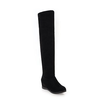 Over the Knee Boots Wedge Heeled Winter Shoes for Woman 2161
