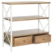 Chandra Console With Storage Drawers Oak/White Smoke
