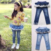 2017 Summer Fashion Children Girls Jeans Pants With Ruffles Denim Pants Summer Clothes Kids Jeans Girls Cute Clothing