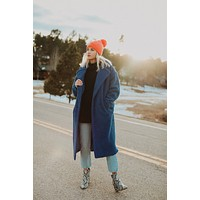 Dawn Long Faux Fur Coat (Royal Blue)- Ships 1/29