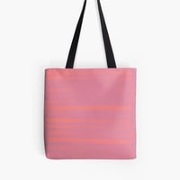 'Peach Earth Lines, Pink Stripes' Tote Bag by ANoelleJay