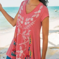 Soft Surroundings Embroidered Floral Summer Swing Top Boho Tunic NWOT