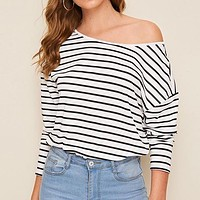 Black and White Cut Out Twist Back Striped Top Drop Shoulder T Shirt Women Autumn Long Sleeve Ladies Sexy Tshirt Tops
