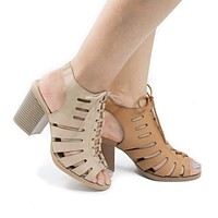 Otago By Soda, Cut Out Lace Up Sling Back Stacked Block Heel Sandals