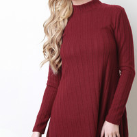 Mock Neck Ribbed Fleece Shift Dress