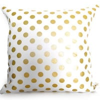 Metallic Gold Dots Pillow Cover - Gold and White - BOTH SIDES - Polka Dots - Decorative Pillow - Designer Pillow
