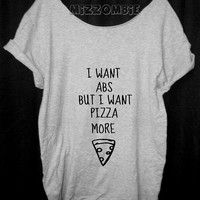 PIZZA Tshirt, Off The Shoulder, Over sized,   loose fitting, graphic tee, screen printed by hand, women's, teens.