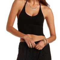Black Cropped Sweater Knit Halter Top by Charlotte Russe