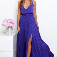 Rippling Reflection Indigo Maxi Dress