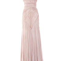 Hand Pleated Chiffon V-Neck Gown by Bibhu Mohapatra for Preorder on Moda Operandi
