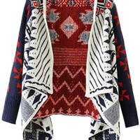 Printed Asymmetrical Long Sleeve Knitted Cover-up