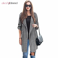 AKSLXDMMD Fat MM Plus Size 2016 New Autumn Women Cardigan Coats Loose Thin Long-sleeved Bunker Long Trench Coat Female LH242