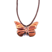 Wooden Butterfly Pendant, Wood Necklace, Butterfly Pendant Necklace, Wood Jewelry, Hand Carved Pendant, Wooden Jewelry, Wood Carved Pendant