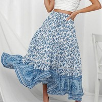Vintage Print Long Skirt Women High Waist Lace up Skirt Casual Holiday Beach Long Skirts