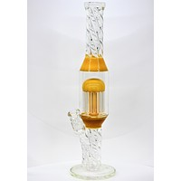 Yellow Chambered Spiral Bong