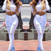 FASHION HOLE DENIM TIGHT PANTS