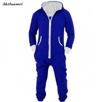 2018 Casual Tracksuit Jumpsuit Mens Overalls Long Sleeve Sweatshirt Hoodies Casual Long Pants Romper For Male Overalls