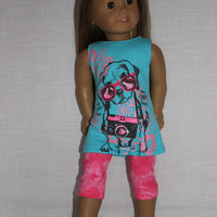 18 inch doll clothes, dog graphic print long tank top , blue doll t-shirt, and pink capris