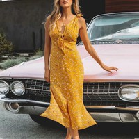 Casual Party Sexy Long Beach Dress Women Bohemian Female Dresses Bow Split Dress