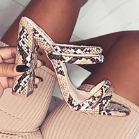 New women snakeskin pattern high-heeled sandals slippers shoes