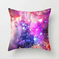 Doodles in Deep Space Throw Pillow by micklyn
