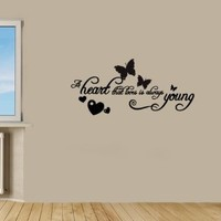 Housewares Vinyl Decal Quote Heart Loves Is Always Young Home Wall Art Decor Removable Stylish Sticker Mural Unique Design for Any Room