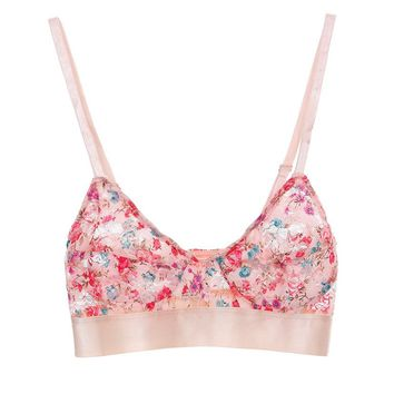 Ethereal Lace Bralette - Peach