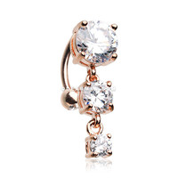 Rose Gold Brilliant Sparkle Cascading Gem Reverse Belly Button Ring (Clear)