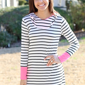Pink Hooded Tunic - Black and Ivory