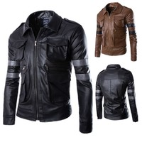 New Arrival Men Leather Jacket Long Sleeve PU Leather Coat Lyon motorcycle leather jackets men Resident Evil leather jacket