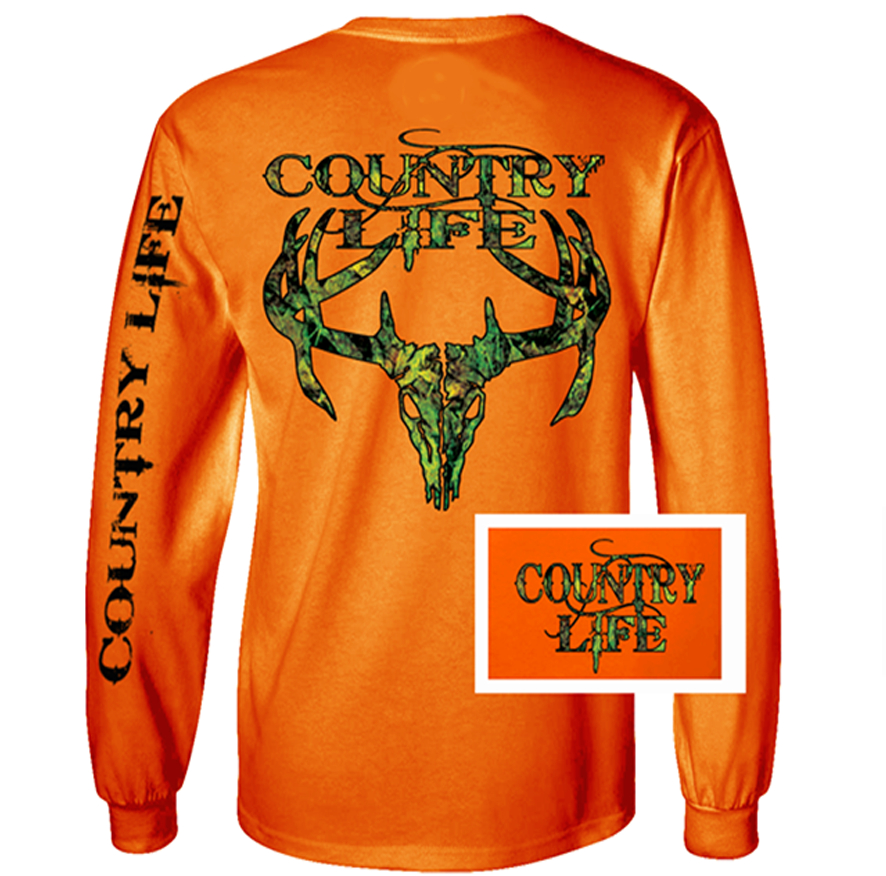 Image of Country Life Outfitters Orange Camo Realtree Deer Skull Head Hunt Vintage Unisex Long Sleeve Bright T Shirt