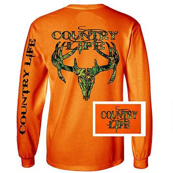 Country Life Outfitters Orange Camo Realtree Deer Skull Head Hunt Vintage Unisex Long Sleeve Bright T Shirt