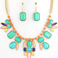 Floral design necklace and ear rings