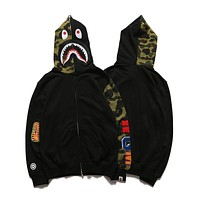 Bape Shark Head Mosaic Half Sleeved Camouflage Sweater Jacket S ~ 2xl