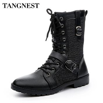 Tangnest Autumn Punk Martin Boots Men Fashion PU Leather Lace-up Motorcycle Boots
