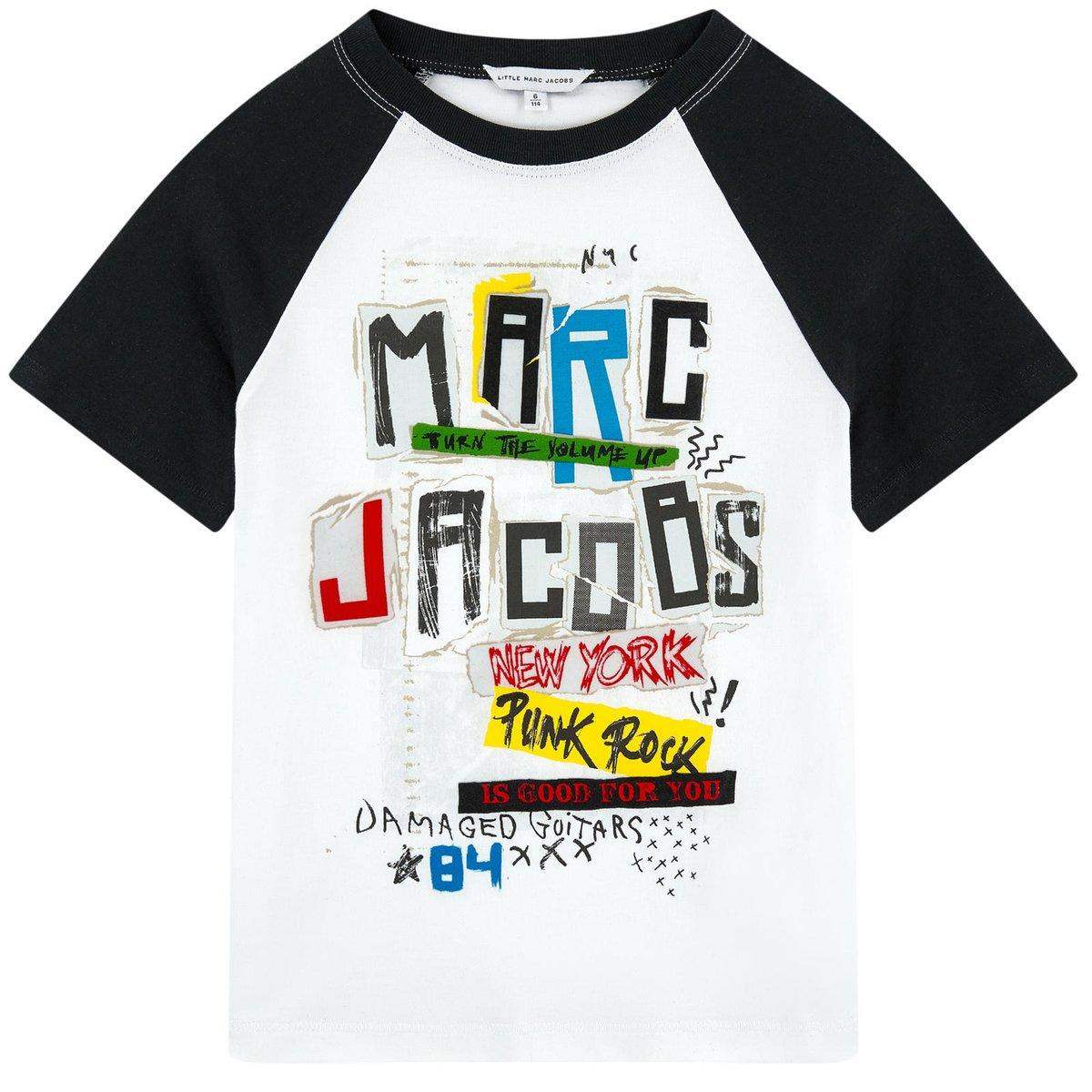 Image of Marc Jacobs Boys White and Black Printed Rock 'n' Roll T-shirt