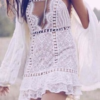 White Floral Lace Peplum Cut Out Short Sleeve Mini Dress