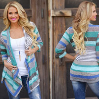 Free shipping Asymmetry of Europe and the United States seven autumn outfit stripe splicing women's cardigans sweater